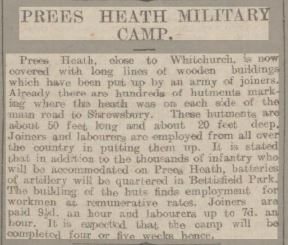 Prees Heath Camp – Chester Chronicle 6th February 1915